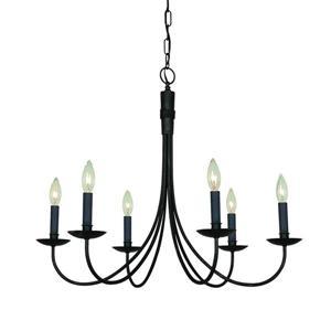 Artcraft Lighting Wrought Iron 6-Light Ebony Black Transitional Candle Chandelier 28-in