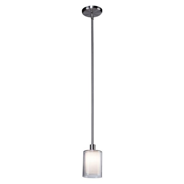 Artcraft Lighting Artcraft Lighting Andover 4-In x 7.5-In Polished Nickel Mini Modern Cylinder Pendant