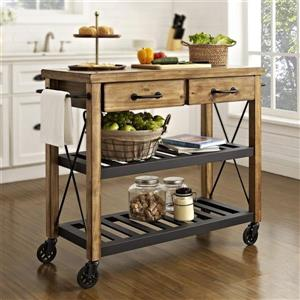 Crosley Furniture 18-in x 42-in x 38-in Brown Rustic Kitchen Cart