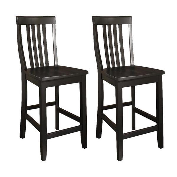 Crosley Furniture School House 24-in Black Bar Stools (Set of 2)