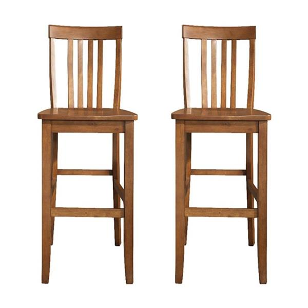 Crosley Furniture School House 30-in Classic Cherry Bar Stools (Set of 2)