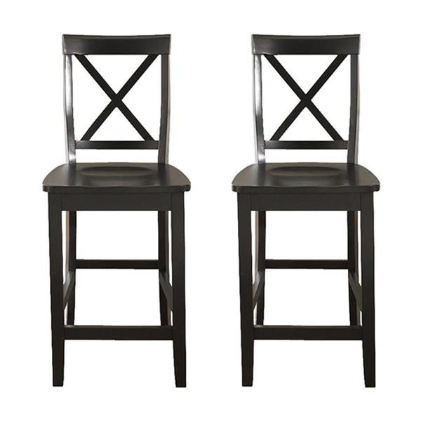 Crosley Furniture X-Back 24-in Black Counter Stools (Set of 2)