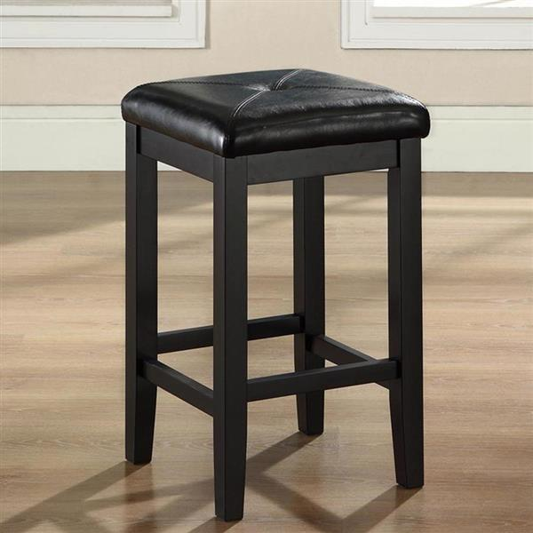 Crosley Furniture Upholstered Square Seat 24-in Black Counter Stools (Set of 2)