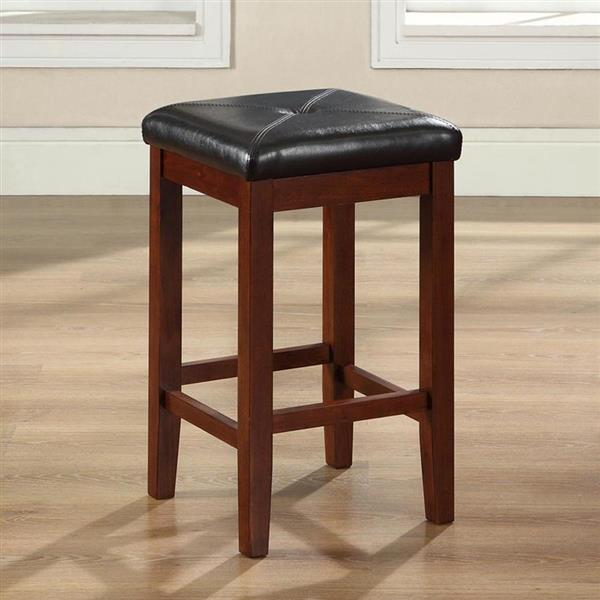 Crosley Furniture Upholstered Square Seat 24-in Classic Cherry Counter Stools (Set of 2)