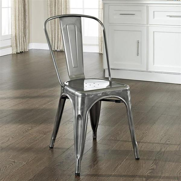 Crosley Furniture Amelia 17-in X 33-in Contemporary Galvanized Side Chairs (Set of 2)
