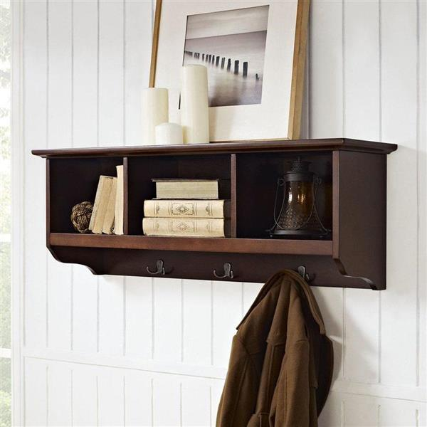 Crosley Furniture Brennan Mahogany Wall Mounted 3 Hook Coat Rack