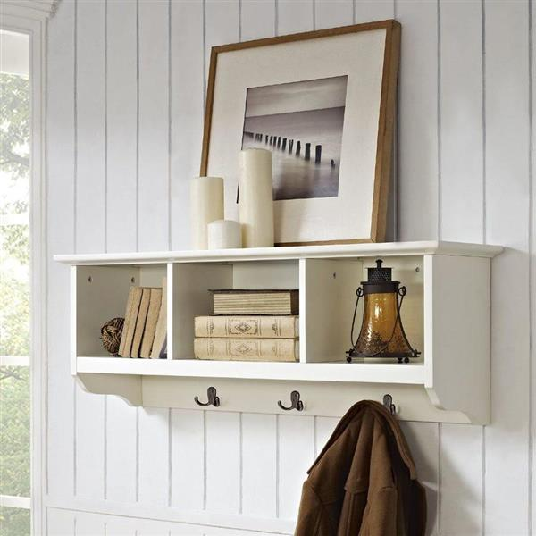 Crosley Furniture Brennan White Wall Mounted 3 Hook Coat Rack