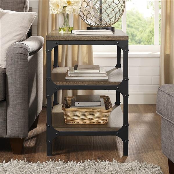 Crosley Furniture Trenton 26-in x 18-in x 26-in Rustic Coffee Wood End Table