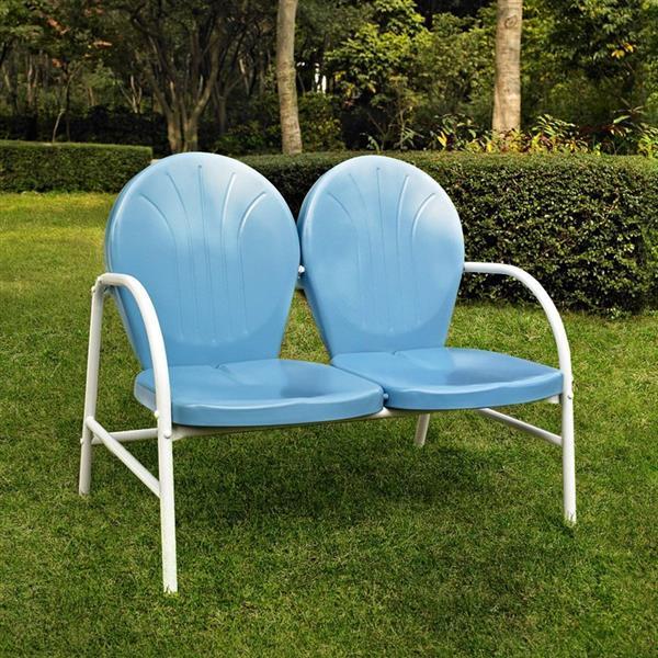Crosley Furniture Griffith 29-in x 41-in Sky Blue Steel Outdoor Loveseat