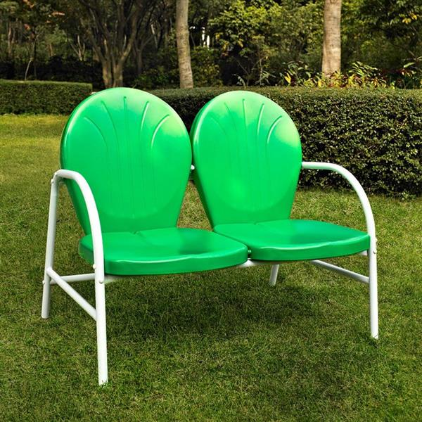 Crosley Furniture Griffith Collection 29-in x 41-in Grasshopper Green Steel Outdoor Loveseat