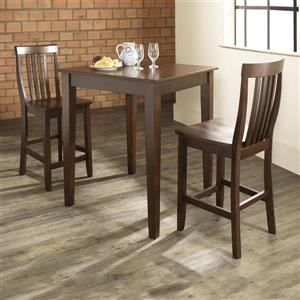 Crosley Furniture Vintage Mahogany 3 Piece Dining Set with Counter Height Table
