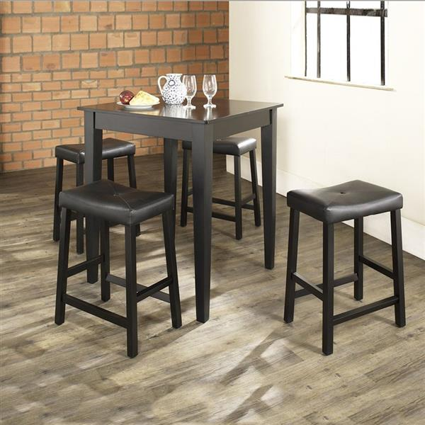 Crosley Furniture 3-Piece Black Dining Set with Counter Height Table
