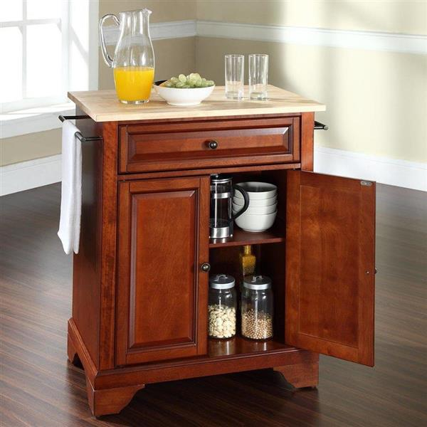 Crosley Furniture 18-in x 28-in Brown Craftsman Wood Kitchen Island With Wood Top