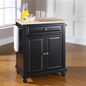 Crosley Furniture 18-in x 28-in Black Craftsman Wood Kitchen Island With Wood Top