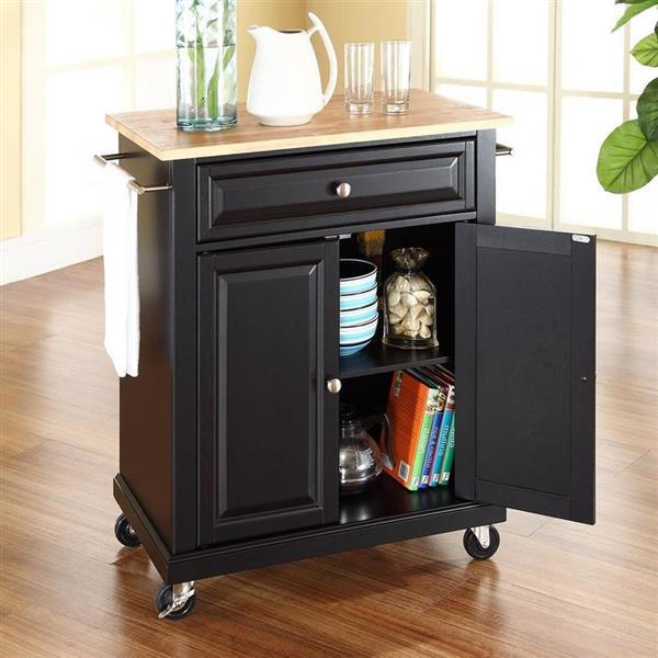 Crosley Furniture 18-in x 36-in Black Portable Kitchen Island