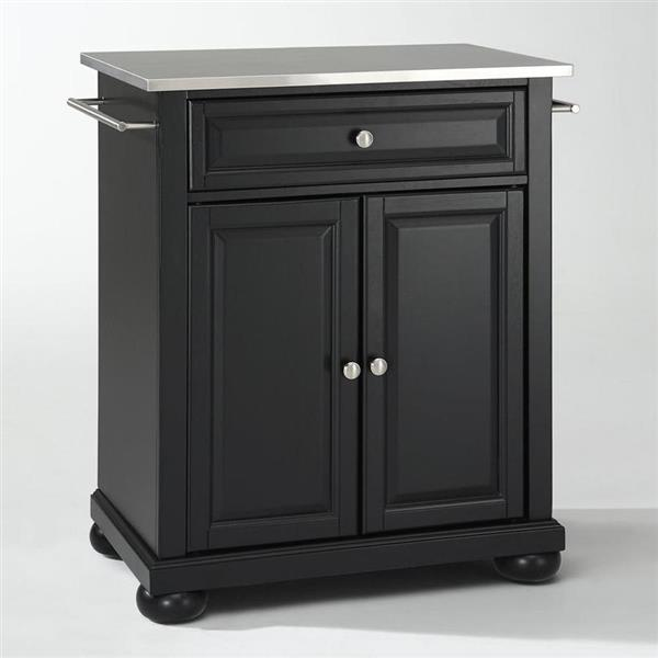 Crosley Furniture 18-in x 36-in Black With Stainless Steel Top Portable Kitchen Island Cart