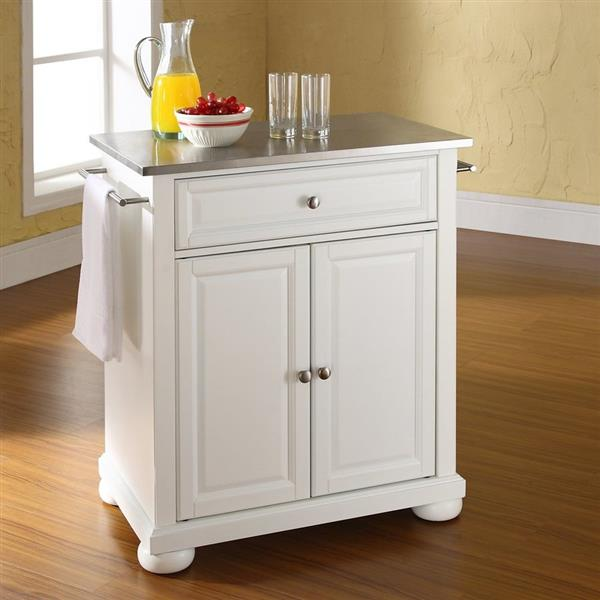 Crosley Furniture 18-in x 36-in White With Stainless Steel Top Portable Kitchen Island Cart