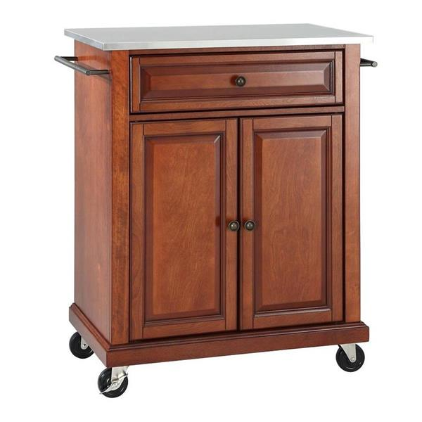 Crosley Furniture 18-in x 28-in Brown Craftsman Wood Kitchen Cart With Stainless Steel Top