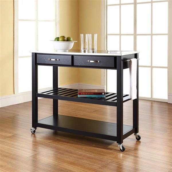 Crosley Furniture 18-in x 43-in Black Craftsman Wood Kitchen Cart With Wood Top