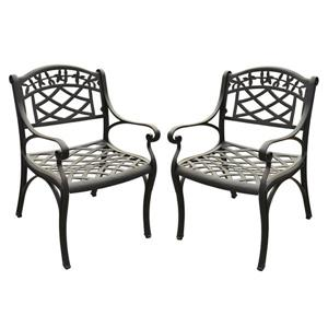 Crosley Furniture Sedona Set of 2  Black Aluminum Conversation Chairs with Woven Seat