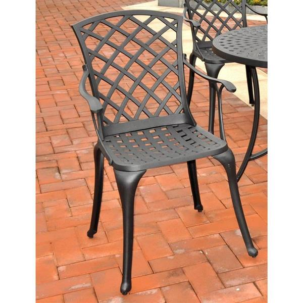 Crosley Furniture Sedona Set of 2 Charcoal Black Aluminum Outdoor High Back Arm Chairs with Woven Seat