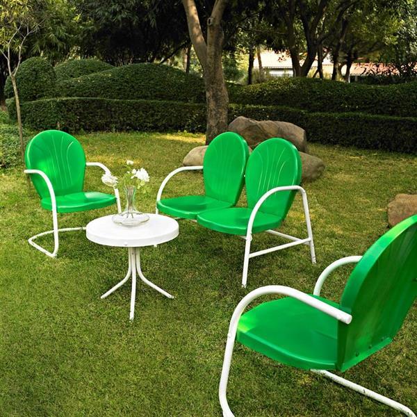 Crosley Furniture Griffith 4 pc Grasshopper Green Steel Frame Patio Conversation Set