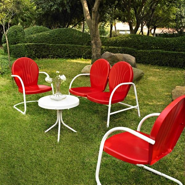Crosley Furniture Griffith 4 pc Red & White Steel Frame Patio Conversation Set