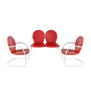 Crosley Furniture Griffith 3 pc Red Steel Frame Patio Conversation Set