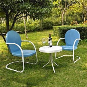Crosley Furniture Griffith 3 pc White & Blue Steel Frame Patio Conversation Set