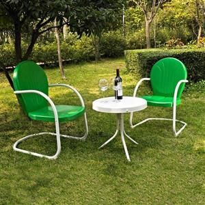 Crosley Furniture Griffith 3 pc White & Green Steel Frame Patio Conversation Set