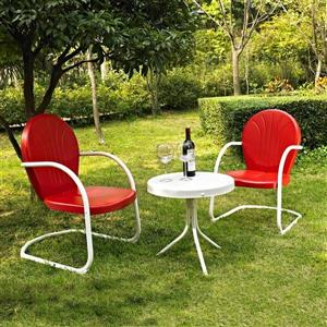 Crosley Furniture Griffith 3 pc White & Red Steel Frame Patio Conversation Set