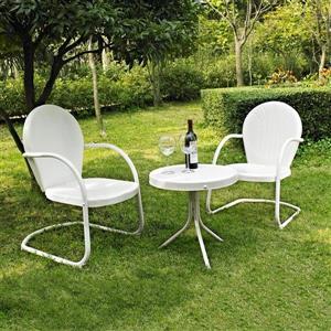 Crosley Furniture Griffith 3 pc White Steel Frame Patio Conversation Set