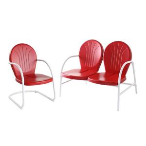 Crosley Furniture Griffith 2 pc Red Steel Frame Patio Conversation Set
