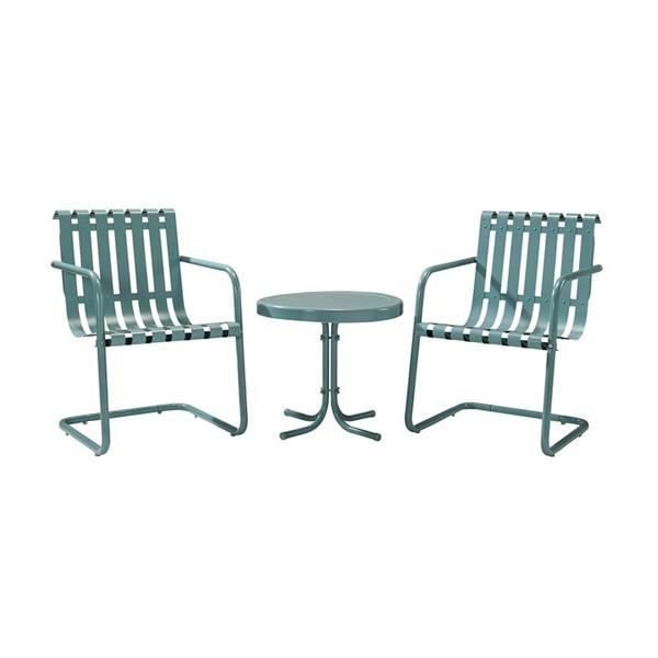 Crossley Furniture Gracie 3 pc Carribean Blue Steel Frame Patio Conversation Set