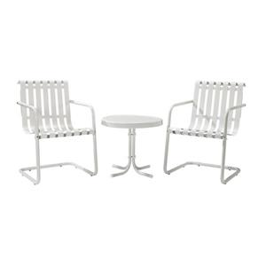 Crosley Furniture Gracie 3 pc Alabaster White Steel Frame Patio Conversation Set