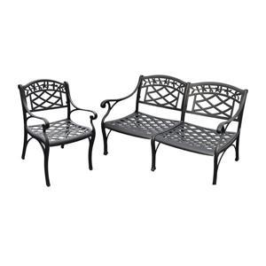 Crosley Furniture Sedona 2 pc Black Aluminum Frame Patio Conversation Set