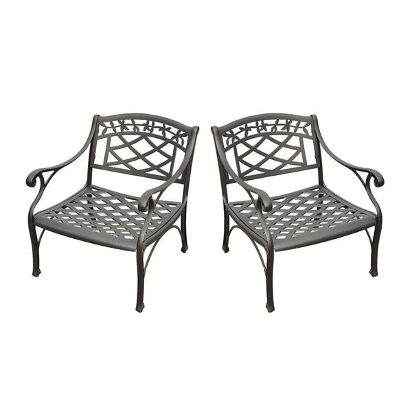 Crosley Furniture Sedona Set of 2 Charcoal Black Aluminum Outdoor Lounge Chairs with Woven Seat