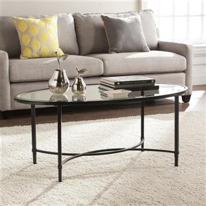 Boston Loft Furnishings Quinlan 24-in x 45-in x 19-in Black Frame And Clear Glass Top Oval Coffee Table