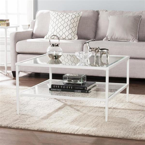Boston Loft Furnishings Kerym 32-in x 32-in x 18-in Soft White Frame And Clear Glass Top Rectangular Coffee Table
