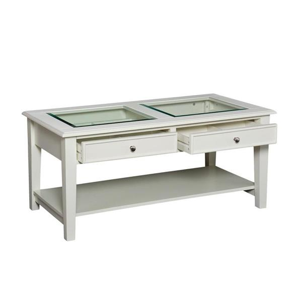 Boston Loft Furnishings Panorama 22.25-in x 44.25-in x 20-in White Frame and 2-Glass Top Pieces Rectangular Coffee Table