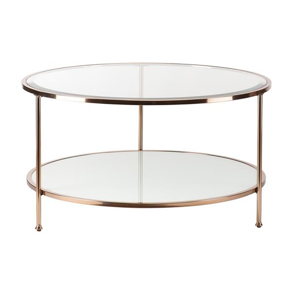 Boston Loft Furnishings Riku 33.78-in x 18.25-in Gold Frame And Clear Glass Top Round Coffee Table