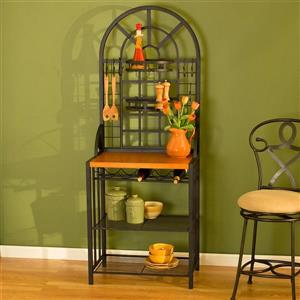 Boston Loft Furnishings 26-in x 68-in Black Metal Dome Etagere With Wine Storage