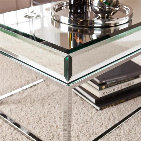 Boston Loft Furnishings Corina 40.25-in x 18.5-in x 17-in Chrome Mirror Finish Rectangular Coffee Table