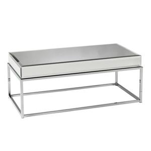 Boston Loft Furnishings Corina 40.25-in x 18.5-in x 17-in Chrome Mirror Finish Rectangular Coffee Table
