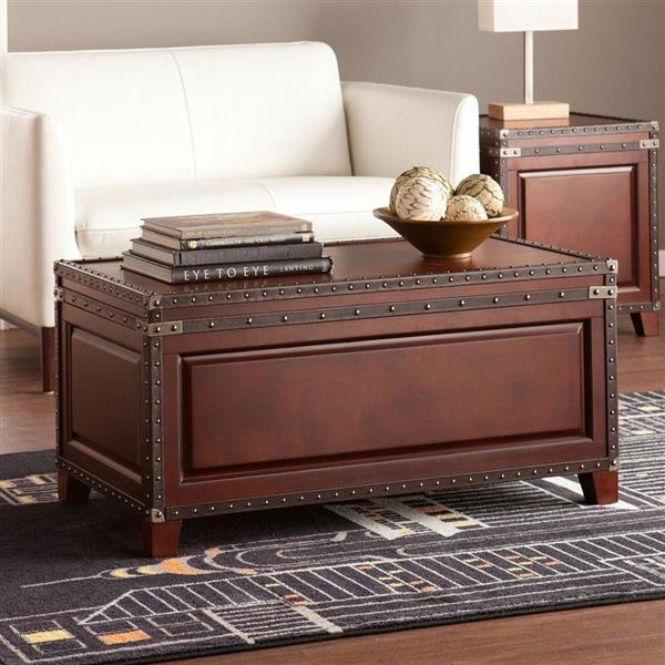 Boston Loft Furnishings Corey 37-in x 18.5-in x 12-in Dark Cherry Vegan Leather Rectangular Trunk Coffee Table