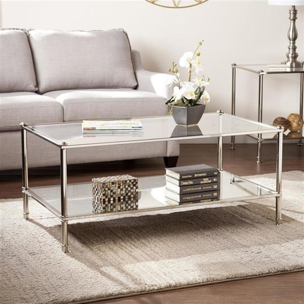 Boston Loft Furnishings Pawrow 24.5-in x 42.5-in x 18.5-in Metallic Silver Frame And Clear Glass Top Rectangular Coffee Table