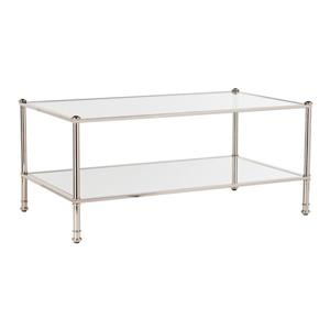 Boston Loft Furnishings Pawrow 24.5-in x 42.5-in x 18.5-in Metallic Silver Frame And Clear Glass Top Rectangular Coffee Table