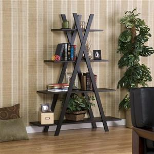 Boston Loft Furnishings 59-in x 46-in x 13-in Black Open Back Bookcase
