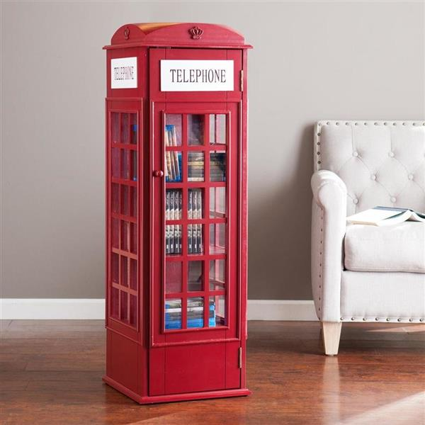 Boston Loft Furnishings Burgundy red Transitional Engineered Wood Media Cabinet