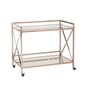 Boston Loft Furnishings Wallace 23.25-in x 38.75-in Modern Gold Glass/Metal Kitchen Cart
